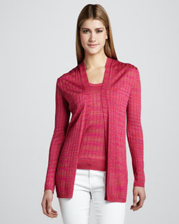 M Missoni Space-Dye Ribbed Cardigan & Tank