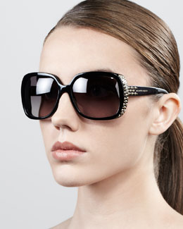 Alexander McQueen Studded Oversized Wrap Sunglasses