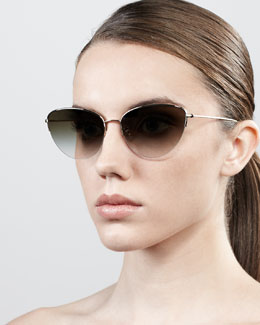 Oliver Peoples Kiley Semi-Rimless Cat-Eye Sunglasses