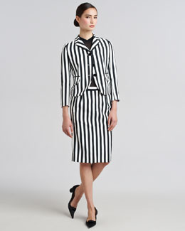 Marc Jacobs Striped Techno Twill Blazer & Pencil Skirt