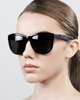 The Row Leather-Arm Classic Sunglasses