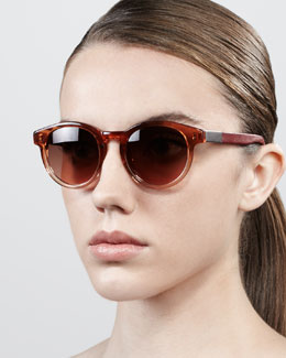 The Row Leather-Arm Round Sunglasses