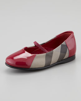 Burberry Check Patent-Trim Mary Jane Ballerina, Raspberry Sorbet