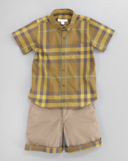 Burberry Short-Sleeve Check Shirt & Check-Lined Twill Shorts