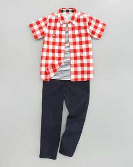 Burberry Gingham Shirt, Brit Striped Tee, Check-Cuff Twill Pants