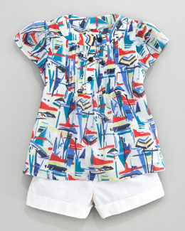 Milly Minis Sailboat-Print Voile Blouse & Bow-Pocket Shorts