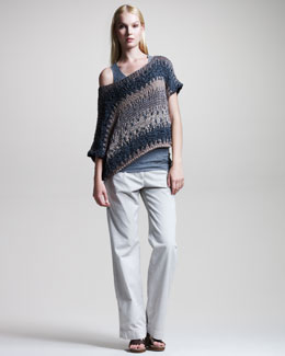 Brunello Cucinelli Striped Off-the-Shoulder Pullover, Scoop-Neck Tank & Garment-Dyed Wide-Leg Pants