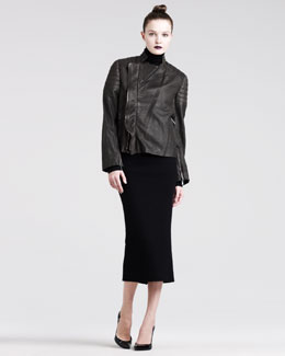 Haider Ackermann Leather Biker Jacket, Jersey Turtleneck & Slim Jersey Skirt