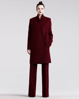 Haider Ackermann Notch-Collar Wool Coat, High-Neck Racerback Tank & High-Waist Flared Pants