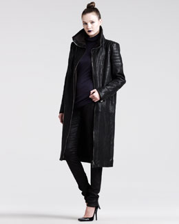 Haider Ackermann Long Leather Zip Coat, Jersey Turtleneck & Stretch-Leather Leggings