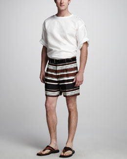 Dolce & Gabbana Relaxed Linen-Cotton Tee & Striped Linen Shorts