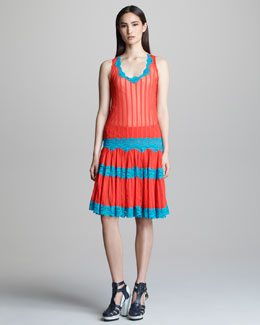 Jean Paul Gaultier Striped Lace-Trim Tank & Pleated Skirt