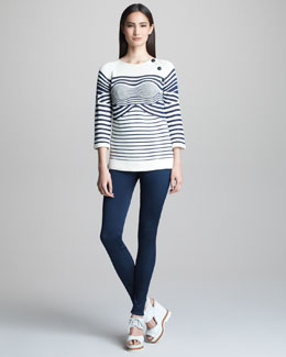 Jean Paul Gaultier Mixed-Stripe Sweater & Double-Faced Twill Leggings