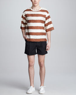 Dolce & Gabbana Striped Temple-Print Tee & Pleated Plaid Shorts