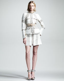 Belstaff Striped Speedmaster Jacket, Stoulton Belt & Danforth Zip Skirt