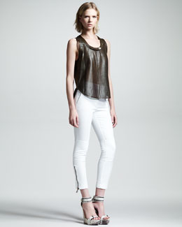 Belstaff Hales Perforated Leather Tank & Filton Cropped Cotton-Linen Pants