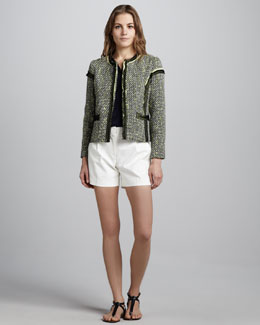 Milly Lea Contrast-Trim Tweed Blazer, Camila Button-Front Blouse & Pleated Twill Shorts