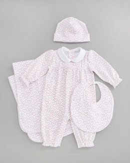 Kissy Kissy Hearts Sampler Playsuit, Bib, Blanket & Hat