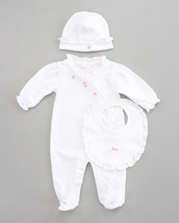 Kissy Kissy Strawberry Fields Hat, Bib & Footie