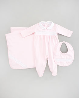 Kissy Kissy Baby Special Bib, Footie & Blanket, Light Pink