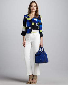 Milly Cascade Printed Top & Straight-Leg Crepe Pants