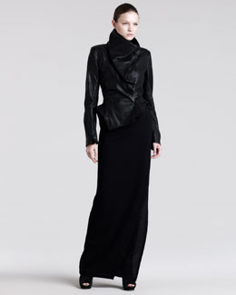 Ann Demeulemeester Asymmetric Leather Peplum Jacket & Long Stretch-Wool Skirt