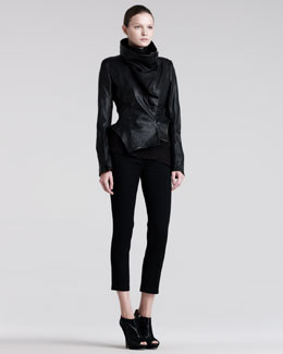 Ann Demeulemeester Asymmetric Leather Peplum Jacket, Draped Georgette Degrade Top & Cropped Skinny Trousers