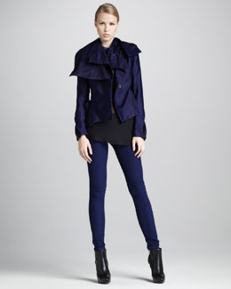 Ann Demeulemeester Asymmetric Peplum Jacket, Sheer Draped Georgette Degrade top & Five-Pocket Leggings