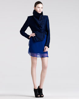 Ann Demeulemeester Asymmetric Peplum Jacket & Draped Georgette Degrade Top