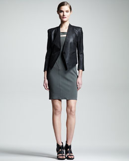 HELMUT Helmut Lang Coated Stretch-Cotton Blazer & Over the Gala Knit Dress