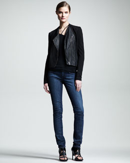 HELMUT Helmut Lang Washed Leather Paneled Jacket, Asymmetric Jersey Tank & Faded Skinny Jeans