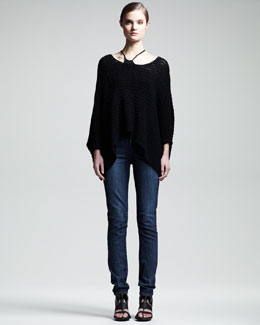 HELMUT Helmut Lang Textured Asymmetric Top & Faded Skinny Jeans