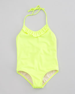 Milly Minis Neon Ruffle Halter One-Piece Swimsuit, Citron