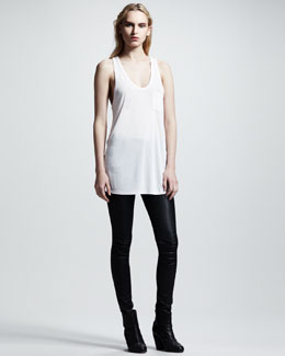 T by Alexander Wang Classic Pocket Tank & Stretch-Leather Skinny Pants
