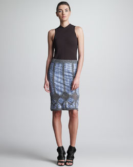 Derek Lam Sleeveless Scuba Knit Top & Macrame Sea Snake Skirt