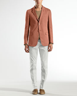 Gucci Gabardine Palma Jacket, Extrafine Cotton Crewneck Sweater & Stretch-Gabardine 60s Skinny Pants