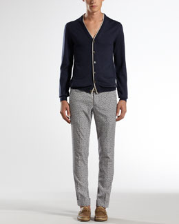 Gucci Wool-Silk V-Neck Cardigan & Poplin Riding Pants