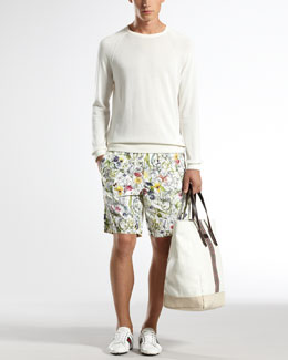 Gucci Cotton Crewneck Sweater & Mini Infinity Floral-Print Swim Shorts