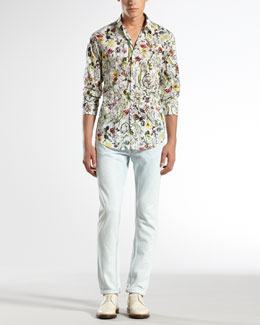Gucci Mini Infinity Floral-Print Shirt & Bleached Five-Pocket Skinny Jeans
