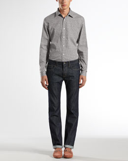Gucci Macro Horsebit-Print Slim Shirt & Five-Pocket Regular-Leg Jeans