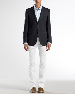 Gucci Caspian Structured Marseille Jacket, Check Slim Shirt & Stretch-Gabardine 60s Skinny Pants