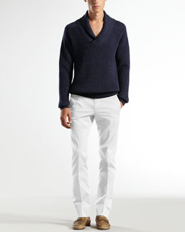 Gucci Shawl-Collar Ribbed Sweater & Stretch-Gabardine 60s Skinny Pants