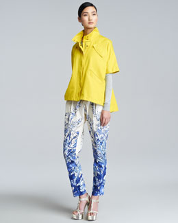 Lela Rose Short-Sleeve Sport Jacket, Long-Sleeve Crewneck Top & Pleated Floral-Print Trousers