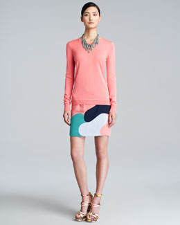 Lela Rose Bateau Silk Sweater, Webbed Chain Necklace & Camouflage Silk Skirt