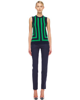 Michael Kors  Striped Cashmere Shell & Slim Cropped Pants