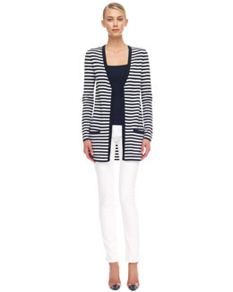 Michael Kors  Striped Cashmere Cardigan, Square-Neck Tank & Skinny Jeans