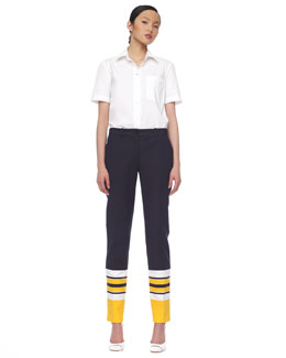 Michael Kors  Poplin T-Shirt Blouse & Stripe-Cuff Broadcloth Pants