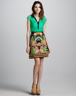Nanette Lepore Sheer-Stripe Collared Shirt & Jane Printed Skirt