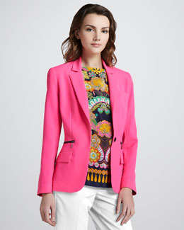 Nanette Lepore Superstar One-Button Blazer & Collage Printed Silk Shell