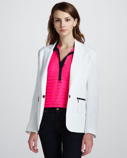 Nanette Lepore Superstar One-Button Blazer & Auction Sheer-Stripe Top